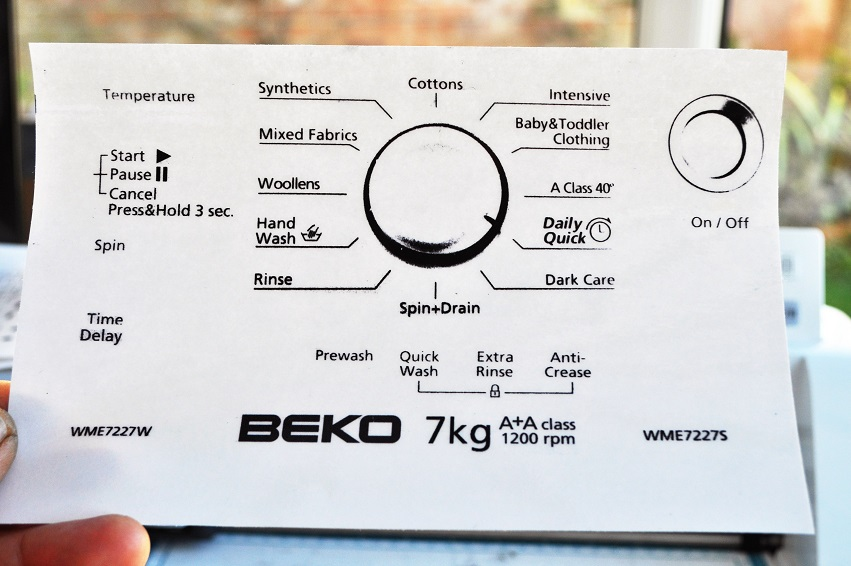 Beko WME7227W & WME7227S washing machine sticker set.